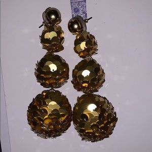 Gold sequin ball J Crew earrings